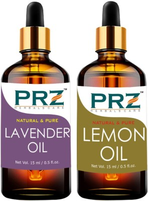PRZ Combo of Lavender Oil & Lemon Oil For Hair Growth, Skin Care (Each 15ML ) - Pure Natural & Therapeutic Grade Oil For Aromatherapy Body Massage, Skin Care & Hair Care