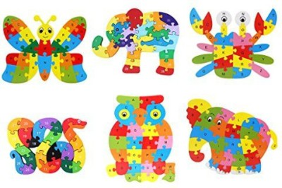 Monkeyjack 6 Sets Wooden A~Z Animal Insects Alphabet Jigsaw Puzzle Kids/Baby Preschool Educational Toy