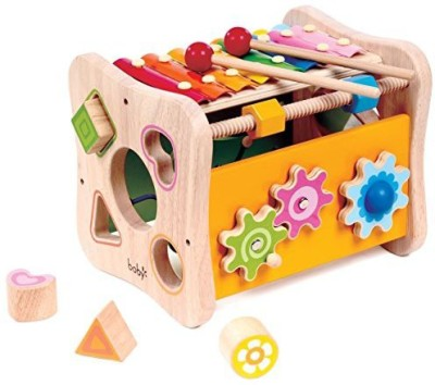 Kids Destiny 8 In 1 Activity Cube - Shape Sorting, Xylophone, Gears, Peg Maze And More By