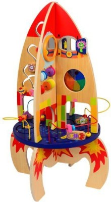 CP Toys Lift Off Multi-Activity Rocket With Bead Coaster, Spinning Gears, Clock, And More