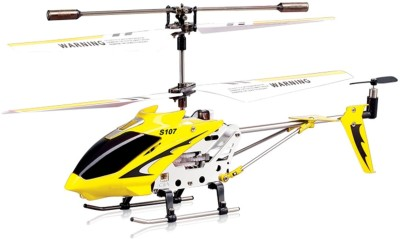 Miss & Chief Metal Helicopter 3 Channel Infrared Remote Control with Gyroscope n LED Lights for Indoor Yellow