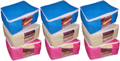ABHINIDI High Quality Combo deal Large 10 inch bridal 3pc Pink saree cover 3pc blue sari cover and 3pc cream saree box gift organizer bag vanity pouch Capacity 10-15 Units Saree Each Keep saree/Suit/Travelling Pouch