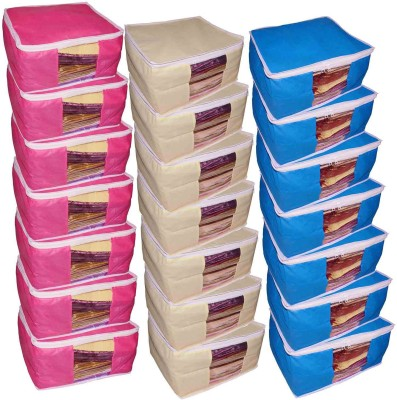 ABHINIDI High Quality Combo deal Large 10 inch bridal 7pc Pink saree cover 7pc blue sari cover and 7pc cream saree box gift organizer bag vanity pouch Capacity 10-15 Units Saree Each Keep saree/Suit/Travelling Pouch