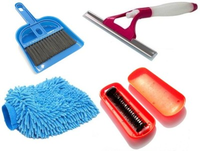 De-Ultimate Combo Of Mini Dustpan and Broom Set, Multi Purpose Microfiber Home Office Car Bike Vehicle Washing Cleaning Hand Glove, Magic Roller Hand Dust Cleaning Brush for Car Seat Cover Cloth Sofa Carpet Bed And Window Non Scratch Glass Sprayer Wiper Cleaner For Cleaning Home Office Car Windshield Windscreens Kitchen, Bathroom Tiles Mirrors Glass with Non-Slip Handle Glove