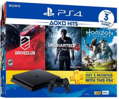 Sony PlayStation 4 (PS4) Slim 500 GB with Horizon Zero Dawn, Drive Club and Uncharted 4