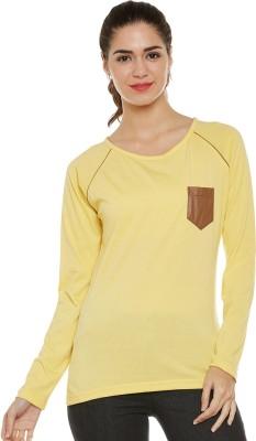 Club York Solid Women Round Neck Yellow T-Shirt