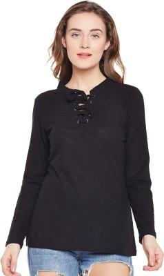 Club York Self Design Women Henley Black T-Shirt