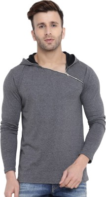 Gritstones Solid Men's Hooded Grey T-Shirt