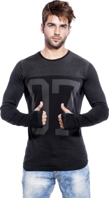 Maniac Printed Men's Round Neck Black, Grey T-Shirt