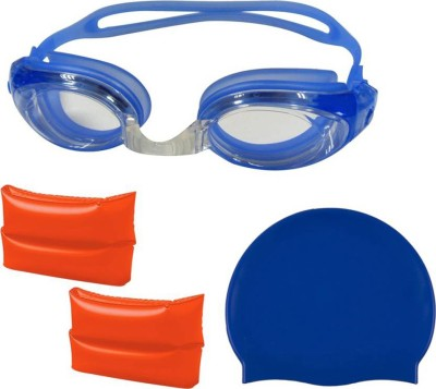GLS Swimming Combo Kit - 1 Swimming Cap 1 Swimming Goggle 1 Pair Arm Band Swimming Kit