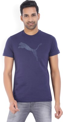Puma Solid Men's Round Neck Dark Blue T-Shirt