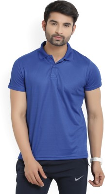 Lotto Solid Men's Polo Neck Blue T-Shirt