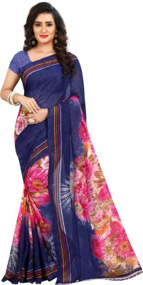 Anand Sarees Floral Print Fashion Georgette Saree