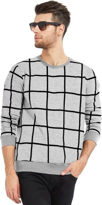 Maniac Checkered Men's Round Neck Grey, Black T-Shirt