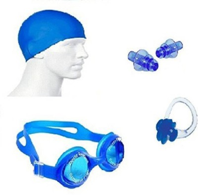 Real Choice Kamni Sports Swimming Kit (Silicon Cap, Silicon Ear Plug, Swimming Nose Clip, Swimming Goggles) Swimming Kit Swimming Kit
