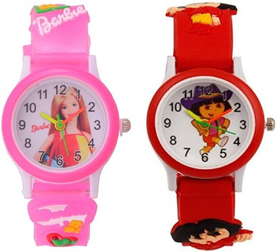blutech Barbie Projector Pink Red Analogue Kids Watches Combo(boys&girls) Analog Watch  - For Girls