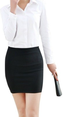 Magnus Solid Women Pencil Black Skirt