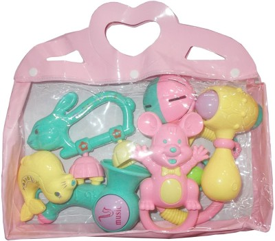 Kotak Sales New Born Baby Infant Toddler Babies Toys Rattle Plush Rings Sets with Teether Cartoon Shape Sweet Cuddle Colorful Set Pleasant to Baby Eyes Non Toxic Durable Quality Baby's First Gift (6+ Months) Rattle