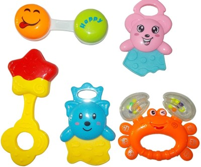 Kotak Sales New Born Baby Boy / Girl Infant Toddler Babies Toys Rattle Plush Rings Sets with Teether Cartoon Shape Sweet Cuddle Colorful Set Pleasant to Baby Eyes Non Toxic Durable Quality Baby's First Gift (6+ Months) Type 3 Rattle