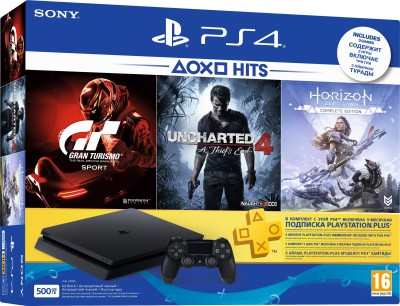 Sony PlayStation 4 (PS4) Slim 500 GB with Uncharted 4, Horizon Zero Dawn (Complete Edition) and Gran Turismo Sport