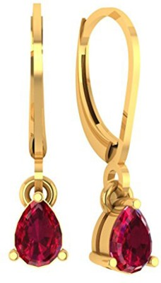 Kataria Jewellers Cute Red Yellow Gold 14kt Drop Earring