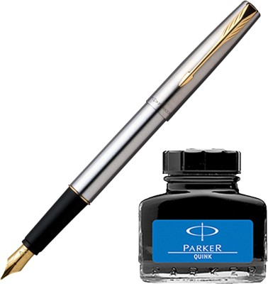 Parker Frontier Stainless Steel GT Fountain Pen with Blue Quink Ink Bottle