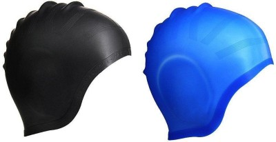 Xerobic Set of Two Ear Protection Swim Cap Premium Silicone Special Shape for Effective Ear Protection - for Adult Men Women Youth Kids - Long Hair Compatible Swimming Kit