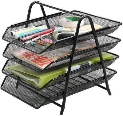Divinext 4 Compartments Metal Desktop Organizer Tray