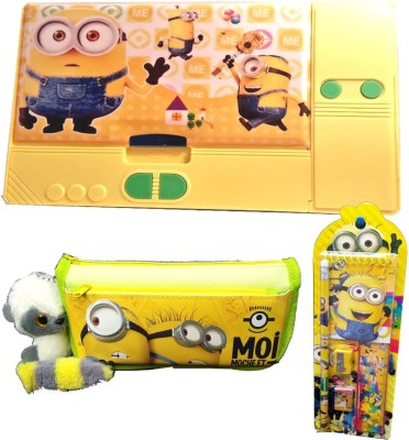 TECHNOCHITRA Minion Theme Birthday Gift Set Combo with Jumbo Pencil Box,Minion Stationery Pouch with Keyring and Complete Stationery Set