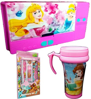TECHNOCHITRA Fairy Princess Theme Birthday Gift Set Combo with Jumbo Pencil Box,Fairy Princess Print Sipper and Complete Stationery Set