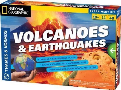 Thames & Kosmos 2 Item Bundle: Volcanoes & Earthquakes Science Experiment Kit + Free Kids Coloring Book