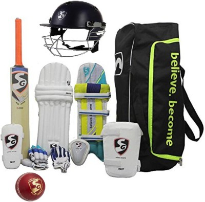 SG Multicolor Economy Cricket Set Full Size (Senior) With Helmet and leather Cricket Ball Cricket Kit