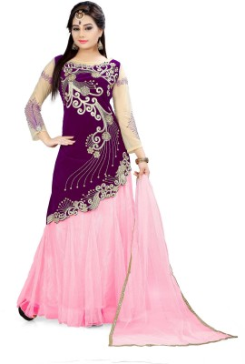 Fabcartz Solid Semi Stitched Lehenga, Choli and Dupatta Set