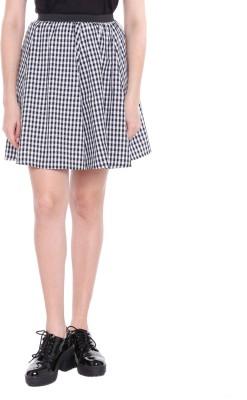 Honey By Pantaloons Checkered Women Flared Black Skirt