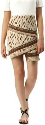 Dressberry Printed Women A-line Beige, Maroon Skirt