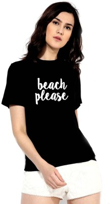 Designer T-Shirts Casual Half Sleeve Printed Women's Black Top