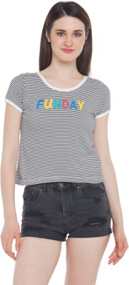 Honey By Pantaloons Casual Short Sleeve Striped Women's Black, White Top
