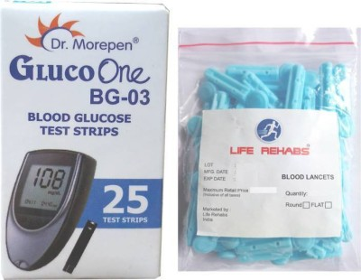 Dr. Morepen Gluco one BG03 25 strips with 25 life rehabs lancets Health Care Appliance Combo