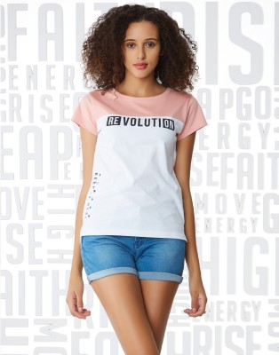 Metronaut Printed Women Round Neck Pink, White T-Shirt