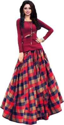 shelvinzas Checkered Semi Stitched Lehenga Choli