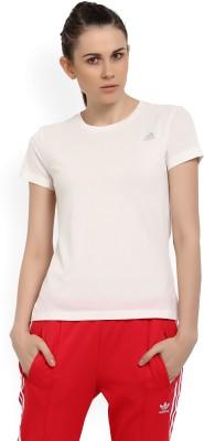 ADIDAS Solid Women Round Neck Beige T-Shirt