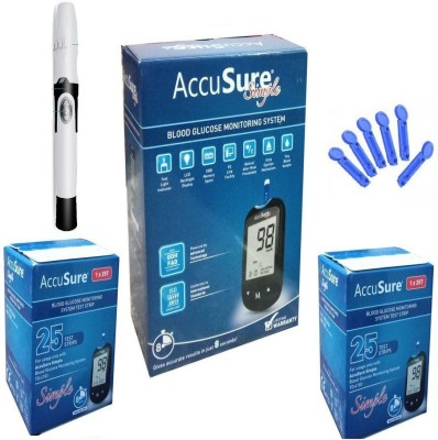 AccuSure Simple Kit With 50 Strips & 50 Round Lancets Health Care Appliance Combo
