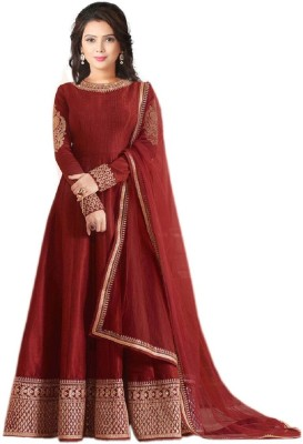 Mert India Poly Silk Embroidered Salwar Suit Material