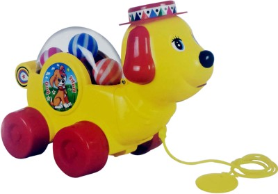 Bonkerz Baby Dog With Moving Balls Inside Pull Along Toy
