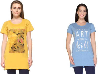 IN Love Graphic Print Women Round Neck Yellow, Blue T-Shirt