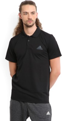 ADIDAS Self Design Men Polo Neck Black T-Shirt