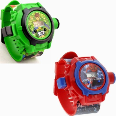 SD SHOP Beautiful Combo Ben 10 & Spider-Man Projector SD,0-66 Kids Digital Watch  - For Boys