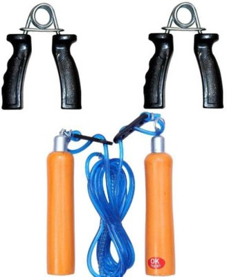 Monika Sports wooden skipping rope + plastic hand grip for exercise Home Gym Kit