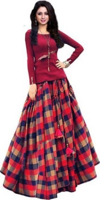 crezz n world Checkered Semi Stitched Lehenga Choli