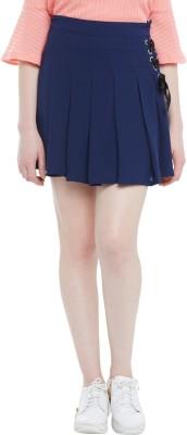 Honey By Pantaloons Solid Women Flared Blue Skirt